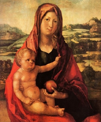 Maria with child in front of a Landscape